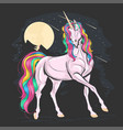 unicorn pink full color vector image vector image