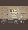 vintage cardboard bakery menu design restaurant vector image vector image