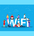 wi fi giant letters and people vector image