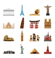 World landmarks flat icons vector image vector image