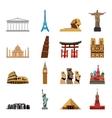 world landmarks flat icons vector image