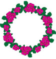 wreath of pink peonies and green leaves vector image