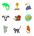 zoo close icons set cartoon style vector image vector image