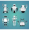 friendly robots collection futuristic design vector image