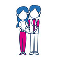 cute couple together holding hands vector image