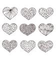 Set of hand drawn hearts Ornate ink drawing vector image