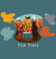 animal tea party in autumn forest