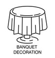 banquet decoration round table with tablecloth vector image
