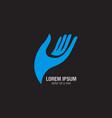 blue singe hand logo vector image vector image