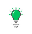 business idea with green bulb vector image vector image