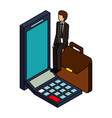 businessman mobile calculator and briefcase vector image vector image