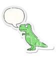 cartoon dinosaur and speech bubble distressed vector image vector image