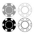 casino chip icon outline set grey black color vector image