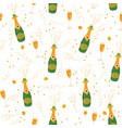 champagne flutes and bottles background vector image