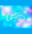 christmas lettering on blue abstract background vector image