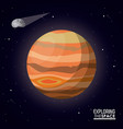 colorful poster exploring the space with planet vector image vector image