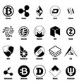 cryptocurrency types icons set simple style vector image vector image