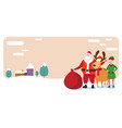 cute elf santa and deer standing together merry vector image vector image