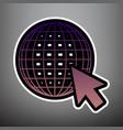 earth globe with cursor violet gradient vector image vector image