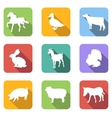 Farm animals flat icons vector image