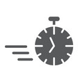 fast stopwatch glyph icon time and speed timer vector image vector image