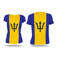 Flag shirt design of Barbados vector image vector image