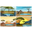 four scenes of savanna field with waterhole vector image vector image