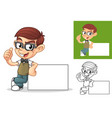 geek boy leaning on empty board vector image vector image