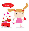 girl love merry christmas cute cartoon vector image vector image