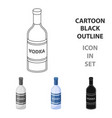 glass bottle of vodka icon in cartoon style vector image vector image