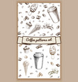hand drawn hot coffee patterns vector image vector image