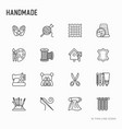 handmade thin line icons set vector image