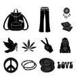 happy and attribute black icons in set collection vector image