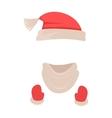 Hat Santa Claus Headwear Scarf Red Mittens vector image vector image