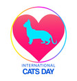 love cats domestic pets symbol with cat silhouette vector image
