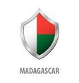 madagascar flag on metal shiny shield vector image