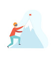 man climbing a mountain wearing virtual reality vector image