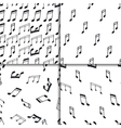 Music notes seamless pattern set vector image vector image