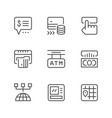 set line icons atm vector image vector image
