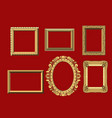 set of gold carved frames for paintings vector image