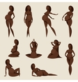 Set of stylized silhouettes pregnant women vector image