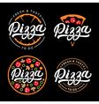 set pizza hand written lettering logo label vector image vector image