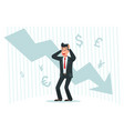 stressful businessman falling profits down arrow vector image vector image