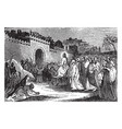 the triumphal entry of jesus into jerusalem vector image vector image