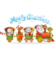 Toy train with reindeer bear and snowman vector image vector image