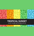 triangle pattern set tropical sunset seamless vector image vector image