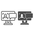 User on computer monitor line and glyph icon