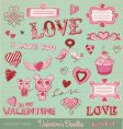 valentines doodles vector image vector image