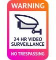 video surveillance 24hr cctv poster for print vector image vector image
