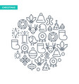 winter holidays lined icons collection vector image vector image